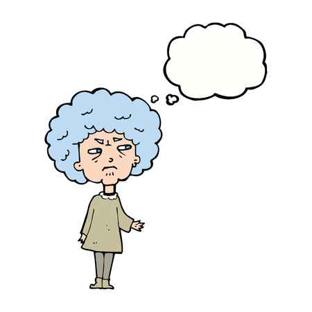 bitter: cartoon old lady with thought bubble Illustration