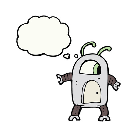 alien robot: cartoon alien robot with thought bubble