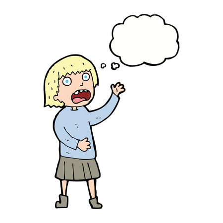 stressed out: cartoon stressed out woman with thought bubble