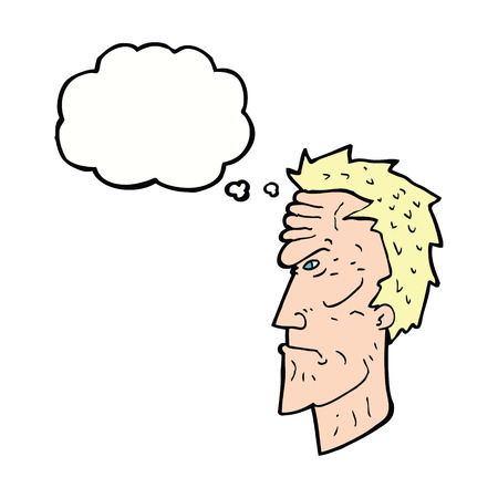 wrinkled face: cartoon angry face with thought bubble Illustration