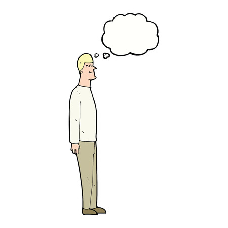 tall: cartoon tall man with thought bubble