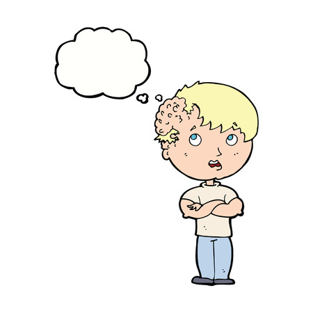 tumour: cartoon boy with growth on head with thought bubble Illustration