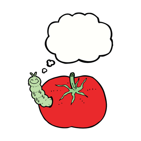 tomato caterpillar: cartoon tomato with bug with thought bubble Illustration
