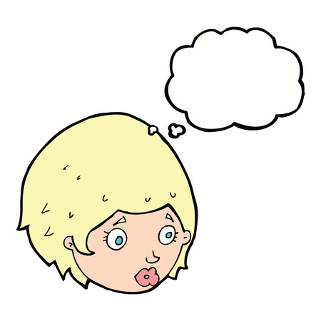concerned: cartoon girl with concerned expression with thought bubble