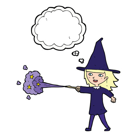 casting: cartoon witch girl casting spell with thought bubble