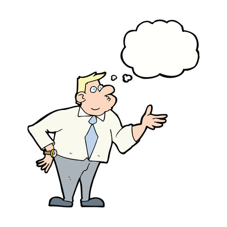 asking: cartoon businessman asking question with thought bubble Illustration