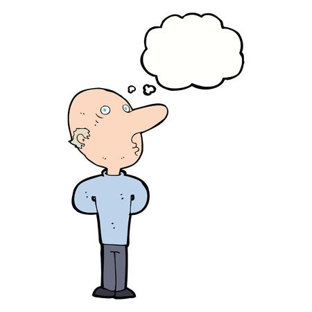 balding: cartoon balding man with thought bubble Illustration