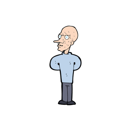 bald: cartoon evil bald man with thought bubble