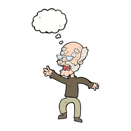 panicking: cartoon frightened old man with thought bubble