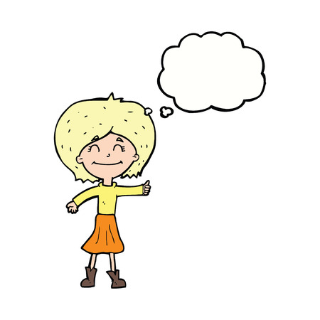 thumbs up symbol: cartoon happy girl giving thumbs up symbol with thought bubble Illustration