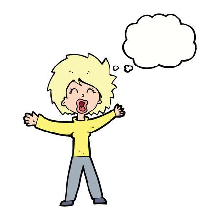 shouting: cartoon woman shouting with thought bubble