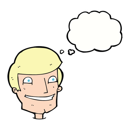 grinning: cartoon grinning man with thought bubble
