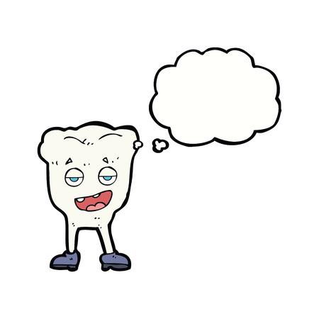 smug: cartoon tooth looking smug with thought bubble