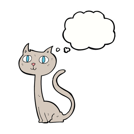 thought bubble: cartoon cat with thought bubble Vettoriali