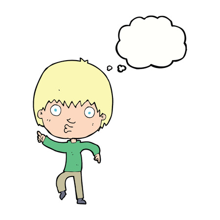 impressed: cartoon impressed boy pointing with thought bubble