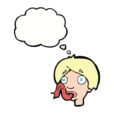 sticking: cartoon head sticking out tongue with thought bubble Illustration