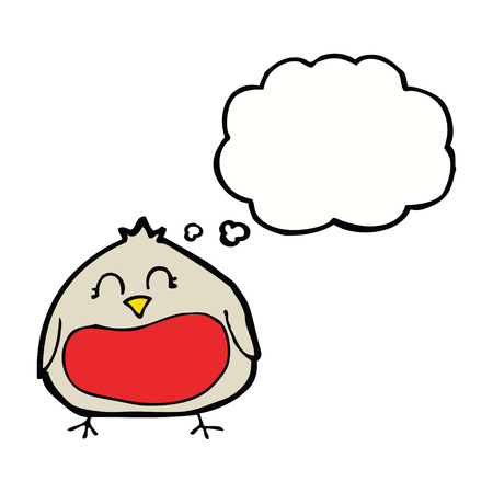 christmas robin: funny cartoon christmas robin with thought bubble Illustration