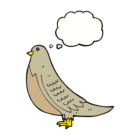 in common: cartoon common bird with thought bubble