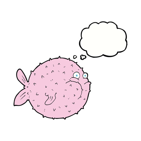 puffer: cartoon puffer fish with thought bubble Illustration