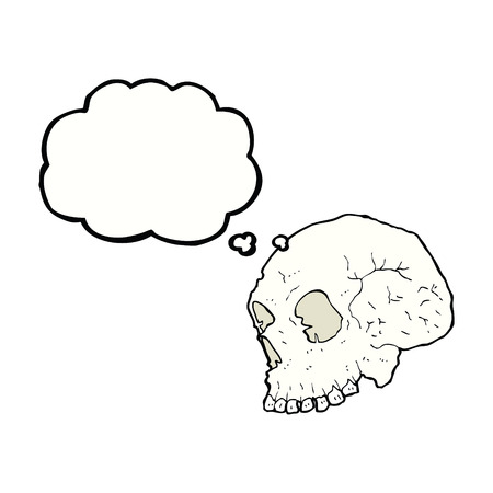 thought bubble: skull illustration with thought bubble Illustration