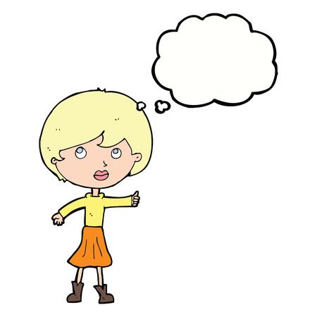 asking question: cartoon woman asking question with thought bubble