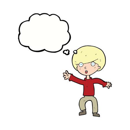 panicking: cartoon panicking boy with thought bubble