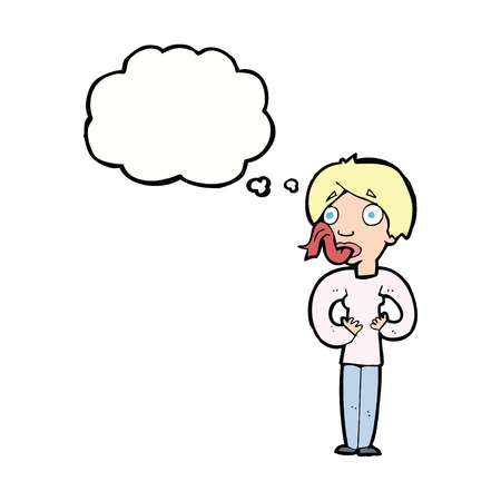 sticking: cartoon woman sticking out tongue with thought bubble Illustration