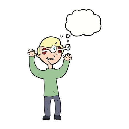popping: cartoon man with popping out eyes with thought bubble Illustration