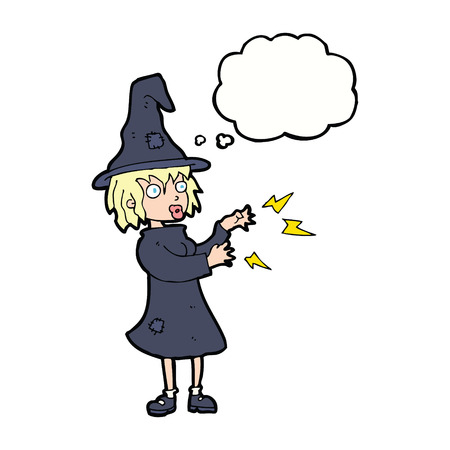 spell: cartoon witch casting spell with thought bubble
