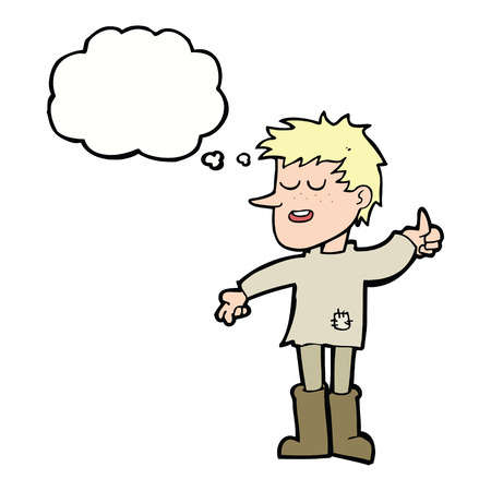 positive thought: cartoon poor boy with positive attitude with thought bubble