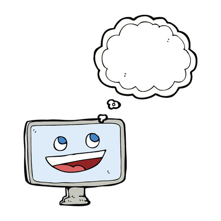 cartoon computer screen with thought bubble Vector