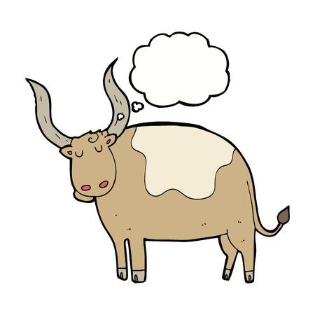 buey: buey de la historieta con la burbuja del pensamiento