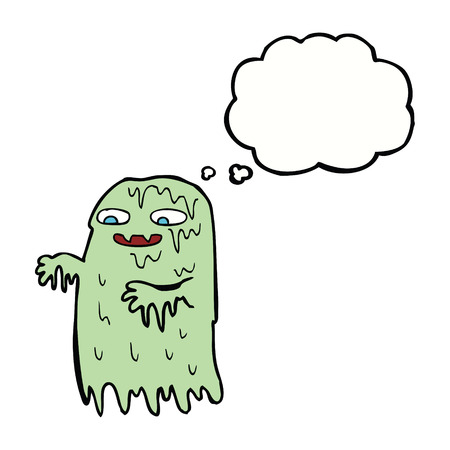 slime: cartoon gross slime ghost with thought bubble