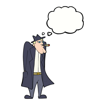 cartoon man in hat and trench coat with thought bubble Illustration