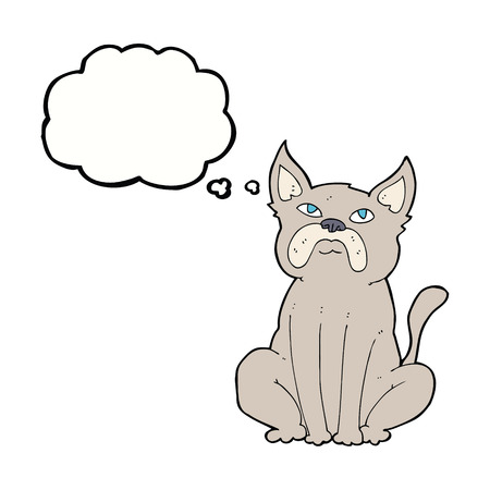 grumpy: cartoon grumpy little dog with thought bubble