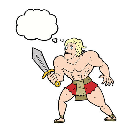 heroic: cartoon fantasy hero man with thought bubble