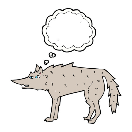 starve: cartoon wolf with thought bubble