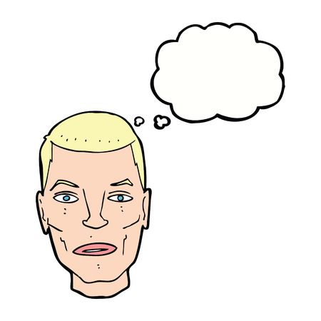 male face: cartoon serious male face with thought bubble Illustration