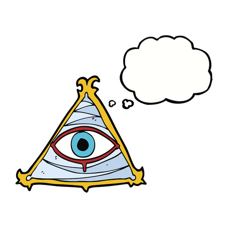 mystic: cartoon mystic eye symbol with thought bubble