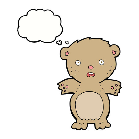 teddy bear cartoon: frightened teddy bear cartoon with thought bubble