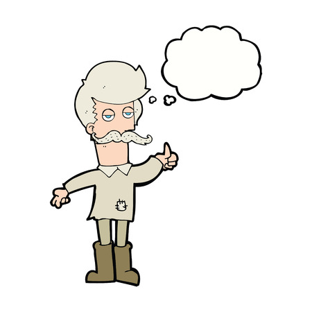 patched up: cartoon old man in poor clothes with thought bubble