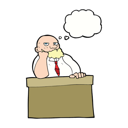 bored man: cartoon bored man at desk with thought bubble Illustration