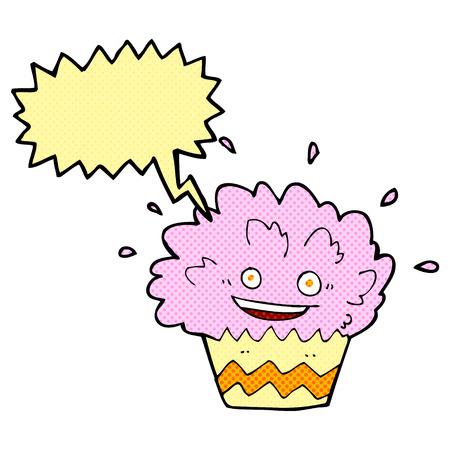 cartoon exploding cupcake with speech bubble Vector