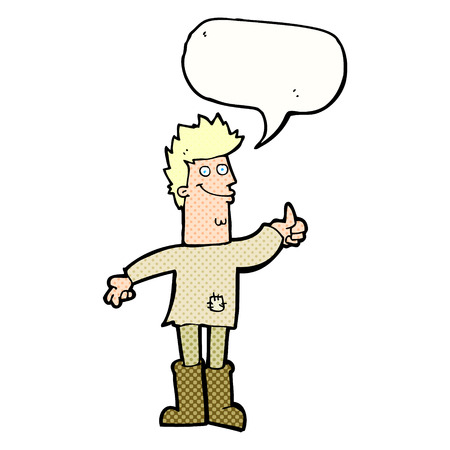 rags: cartoon positive thinking man in rags with speech bubble