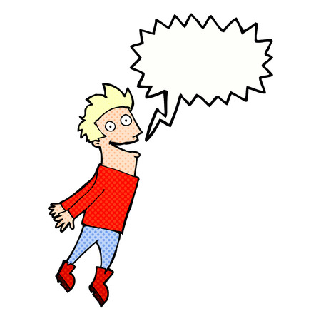 man flying: cartoon drenched man flying with speech bubble Illustration
