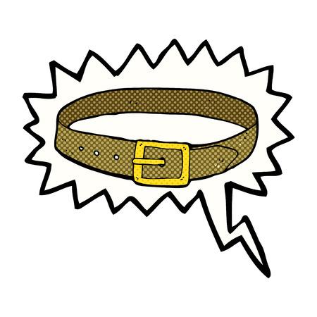 cintur�n de cuero: dibujos animados cintur�n de cuero con bocadillo