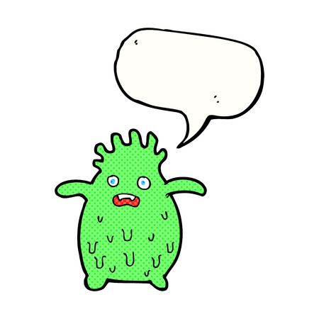 slime: cartoon funny slime monster with speech bubble Illustration