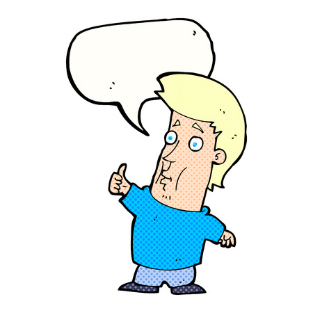 attitude boy: cartoon man giving thumbs up sign with speech bubble