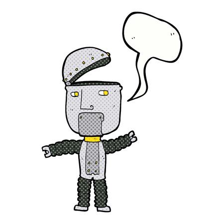 talking robot: robot de dibujos animados con el bocadillo