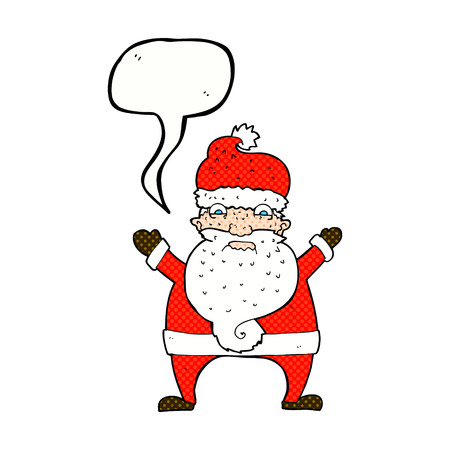 stressed out: cartoon stressed out santa with speech bubble